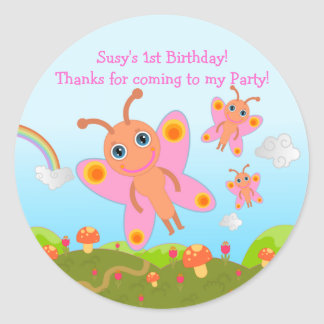 Butterfly Birthday Party thank you note Classic Round Sticker