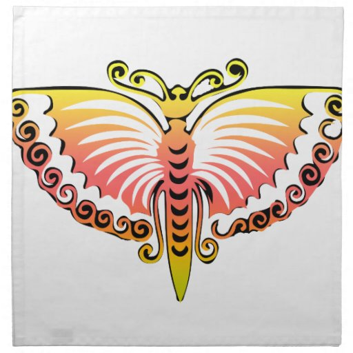 Butterfly Black and pink peach wings Cloth Napkins