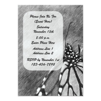 "Butterfly Black And White Nature Art Invitation 5"" X 7"" Invitation Card"
