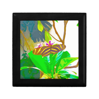 Butterfly Black and Yellow Striped Jewelry Box