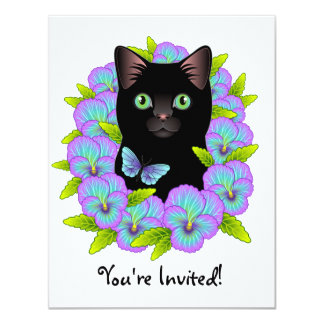 Butterfly Black Cat cute and girly Birthday invite