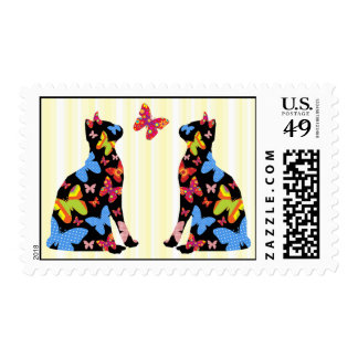 Butterfly Black Cat Silhouette Postal Stamps