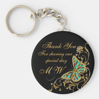 Butterfly black gold floral swirl keychain