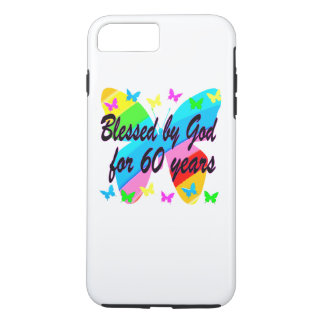 BUTTERFLY BLESSED BY GOD 60TH BIRTHDAY DESIGN iPhone 8 PLUS/7 PLUS CASE