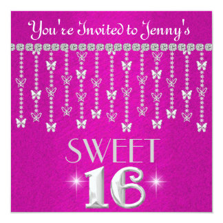 Butterfly BLING SWEET 16 HOT PINK Invitation