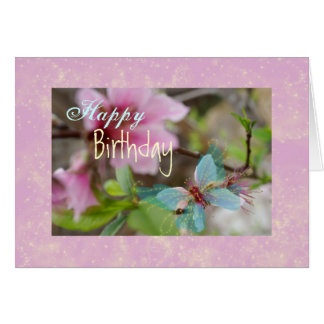 Butterfly Blossom, Happy, Birthday Greeting Card