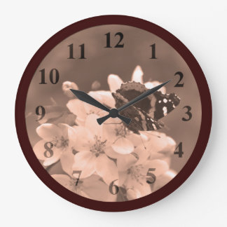 Butterfly Blossoms Sepia Large Wall Clock by Janz