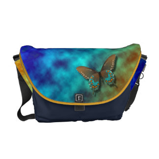 Butterfly: Blue and Brown Swallowtail Courier Bag
