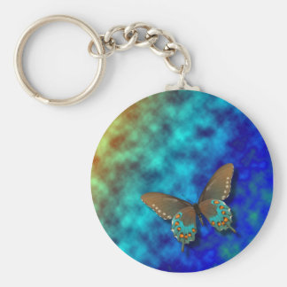 Butterfly: Blue and Brown Swallowtail Keychain
