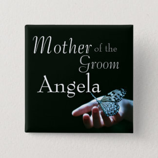 Butterfly blue black Wedding Party Buttons