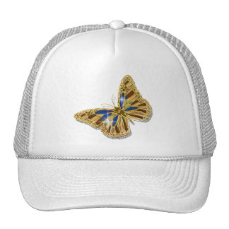 Butterfly blue brown gold elegant trucker hat