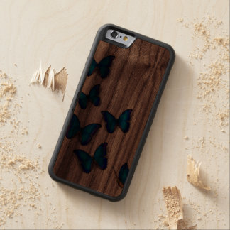 Butterfly Blue Elegant French Decorative Mum Art Carved® Walnut iPhone 6 Bumper Case