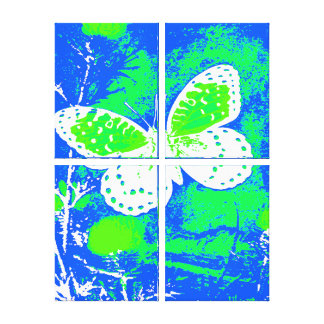 Butterfly - BLUE, GREEN, WHITE Stretched Canvas Prints