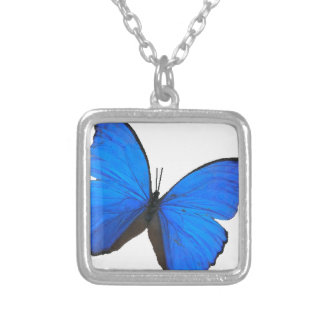 butterfly blue morpho flying skies pattern smile silver plated necklace