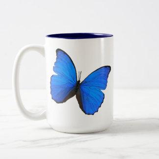 butterfly blue morpho flying skies pattern smile Two-Tone coffee mug