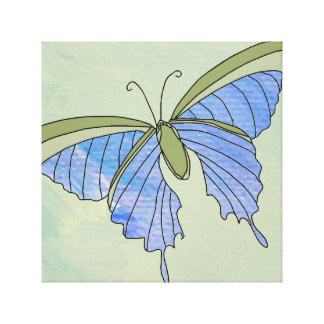 Butterfly Blue Olive Green Decor Art 4