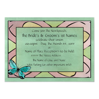 Butterfly Blue on Emerald Green 4.5x6.25 Paper Invitation Card