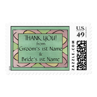 Butterfly Blue on Emerald Green Postage Stamp