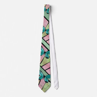 Butterfly Blue on Emerald Green Tie