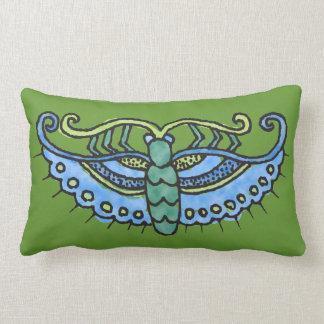 Butterfly Blue on Green Pillow