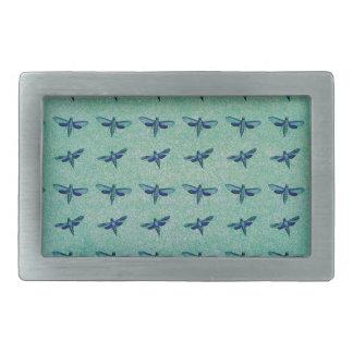 Butterfly blue rectangular belt buckle