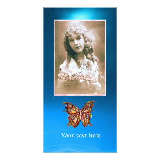BUTTERFLY BLUE SAPPHIRE,red Photo Card