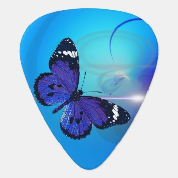 Butterfly Blue Standard Guitar Pick by Shopia at Zazzle