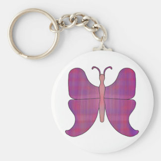 Butterfly Blue Tip Basic Round Button Keychain