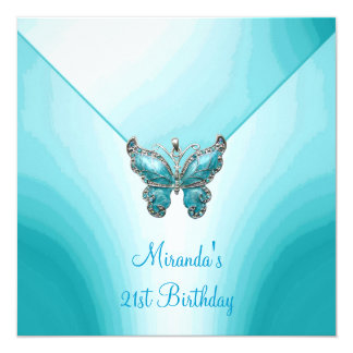 Butterfly Blue White Abstract 21st Birthday Card
