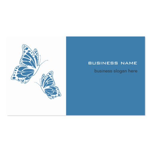 Butterfly Blue & White Elegant Modern Simple Business Cards