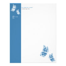Butterfly Blue & White Elegant Modern Simple Letterhead