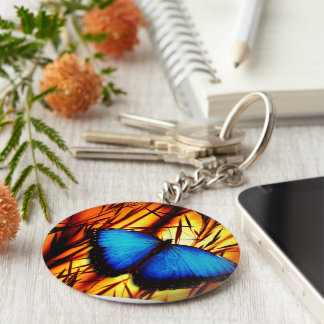 butterfly blue wing wings flight sunset colorful basic round button keychain