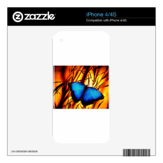 butterfly blue wing wings flight sunset colorful iPhone 4S decals