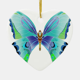 Butterfly Blues Ceramic Ornament