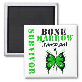 Butterfly Bone Marrow Transplant Survivor 2 Inch Square Magnet