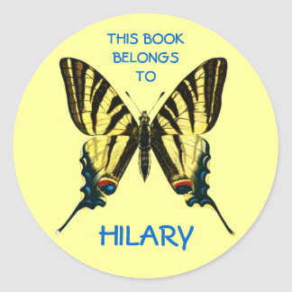 Butterfly Book Labels Classic Round Sticker