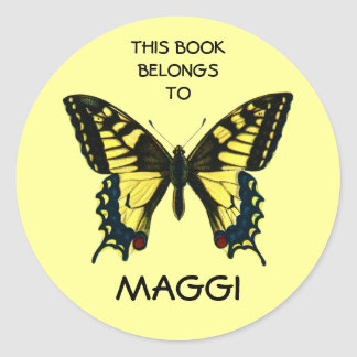 Butterfly Book Labels Round Stickers
