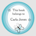 Butterfly Bookplates-This Book Belongs To Labels Classic Round Sticker