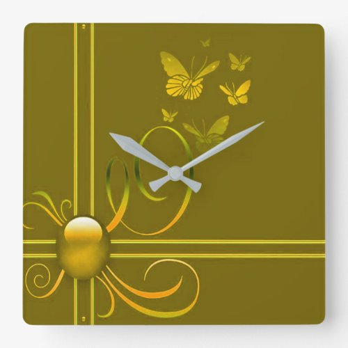 Butterfly Bows 2 Square Wall Clock