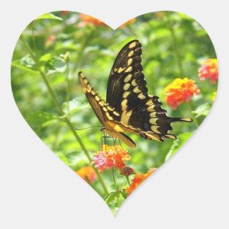 Butterfly Bright Heart Shaped Sticker