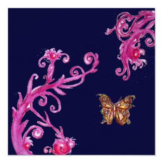 BUTTERFLY , bright pink blue Card