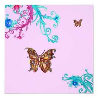 BUTTERFLY , bright pink  blue Custom Announcement