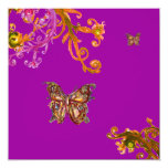 BUTTERFLY , bright pink yellow purple violet Announcement