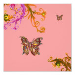 BUTTERFLY , bright pink yellow purple violet Personalized Invitations