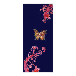 BUTTERFLY , bright red blue Card