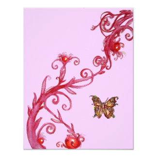 BUTTERFLY , bright red pink Card