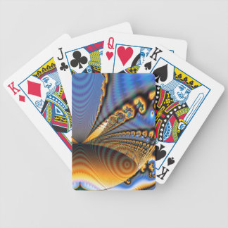 Butterfly Brilliance Fractal Gold & Blue Bicycle Playing Cards