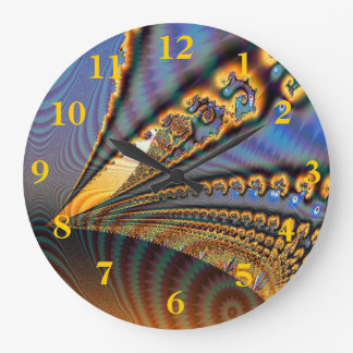 Butterfly Brilliance Fractal Gold & Blue Large Clock