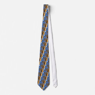 Butterfly Brilliance Fractal Gold & Blue Tie