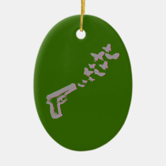 BUTTERFLY BULLETS -- Double-Sided OVAL CERAMIC CHRISTMAS ORNAMENT